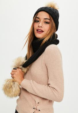 Missguided Faux Fur Pom Pom Hat and Scarf Set